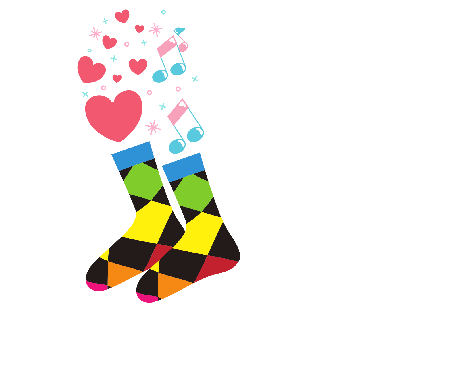 Graphic image of rainbow colored socks with hearts