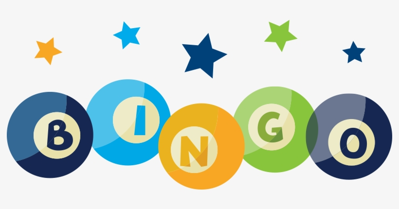 "Colorful graphic with stars and bingo balls spelling ""BINGO"""